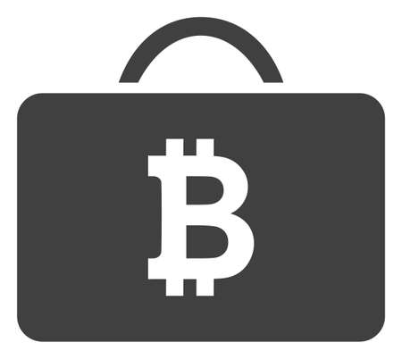 Bitcoin case icon on a white background. Isolated bitcoin case symbol with flat style.