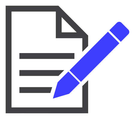 Edit text page icon on a white background. Isolated edit text page symbol with flat style.
