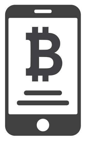 Mobile bitcoin account icon on a white background. Isolated mobile bitcoin account symbol with flat style.