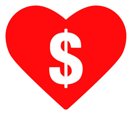 Love price icon on a white background. Isolated love price symbol with flat style.