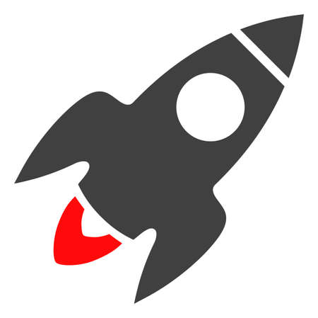 Rocket flight icon on a white background. Isolated rocket flight symbol with flat style.