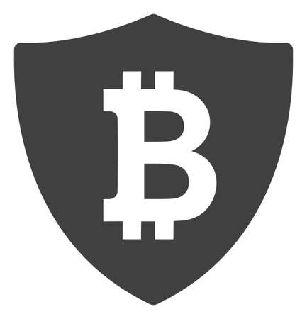 Bitcoin protection icon on a white background. Isolated bitcoin protection symbol with flat style.