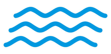 Water waves icon on a white background. Isolated water waves symbol with flat style. Stock Photo