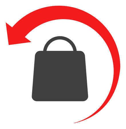 Refund shopping icon on a white background. Isolated refund shopping symbol with flat style.