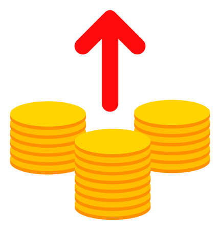 Send coins icon on a white background. Isolated send coins symbol with flat style.
