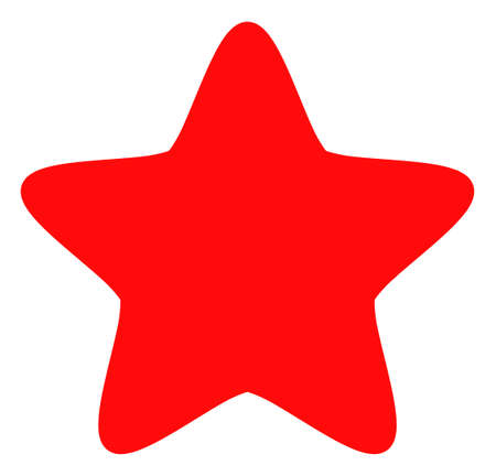 Red star icon on a white background. Isolated red star symbol with flat style.