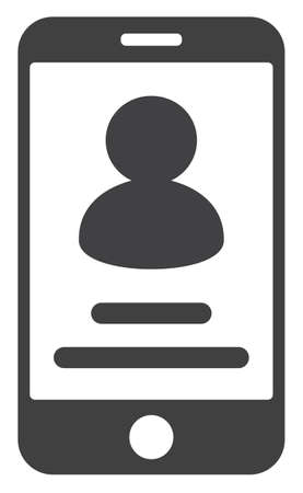 Smartphone user info icon on a white background. Isolated smartphone user info symbol with flat style.