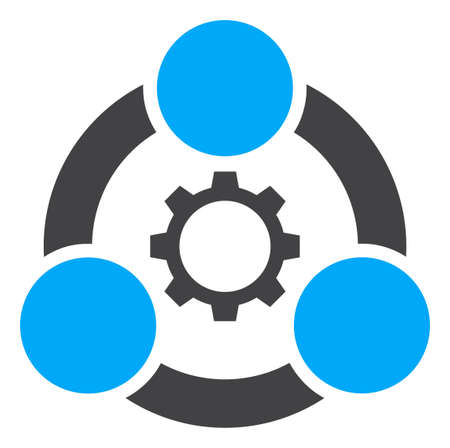 Industrial collaboration icon on a white background. Isolated industrial collaboration symbol with flat style.