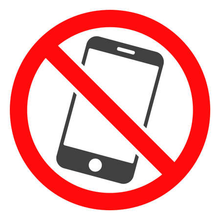 Forbidden smartphone icon on a white background. Isolated forbidden smartphone symbol with flat style. Stock Photo