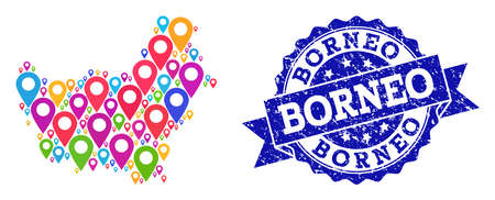 Compositions of bright map of Borneo Island and grunge stamp seal. Mosaic vector map of Borneo Island is designed with bright site pins. Flat design elements for politic projects.