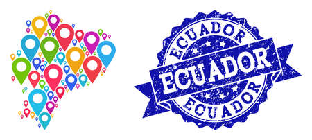 Compositions of colorful map of Ecuador and grunge stamp seal. Mosaic vector map of Ecuador is created with colorful map pins. Flat design elements for politic wallpapers. Blue stamp contains rosette,