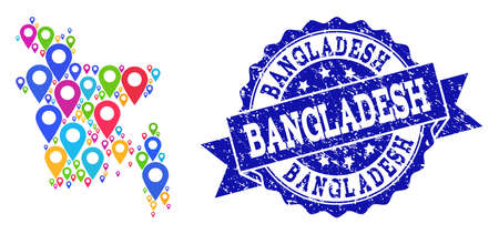 Compositions of bright map of Bangladesh and grunge stamp seal. Mosaic vector map of Bangladesh is composed with bright site pointers. Flat design elements for politic guides.