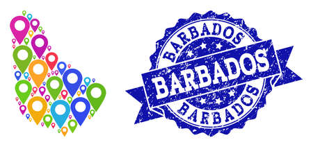 Compositions of bright map of Barbados and grunge stamp seal. Mosaic vector map of Barbados is composed with bright map pointers. Flat design elements for touristic advertisement.