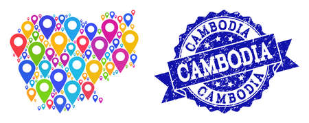 Compositions of bright map of Cambodia and grunge stamp seal. Mosaic vector map of Cambodia is formed with bright map pins. Abstract design elements for touristic wallpapers.