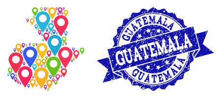 Compositions of colorful map of Guatemala and grunge stamp seal. Mosaic vector map of Guatemala is created with bright site markers. Flat design elements for site purposes.