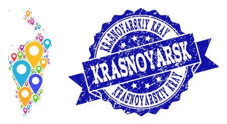 Compositions of colorful map of Krasnoyarskiy Kray and grunge stamp seal. Mosaic vector map of Krasnoyarskiy Kray is formed with colorful site markers. Flat design elements for site purposes. Illustration