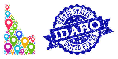 Compositions of colorful map of Idaho State and grunge stamp seal. Mosaic vector map of Idaho State is composed with colorful site pins. Abstract design elements for patriotic illustrations.