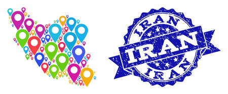Compositions of colorful map of Iran and grunge stamp seal. Mosaic vector map of Iran is composed with colorful site pins. Abstract design elements for site posters. Blue stamp contains rosette,
