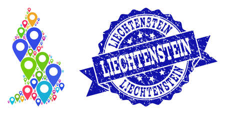 Compositions of bright map of Liechtenstein and grunge stamp seal. Mosaic vector map of Liechtenstein is created with bright map pins. Abstract design elements for site applications.