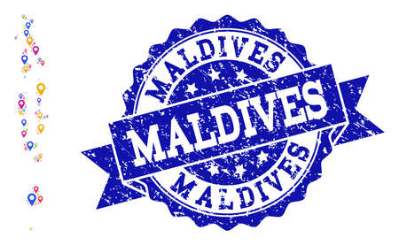 Compositions of bright map of Maldives and grunge stamp seal. Mosaic vector map of Maldives is composed with bright site pointers. Flat design elements for touristic posters.