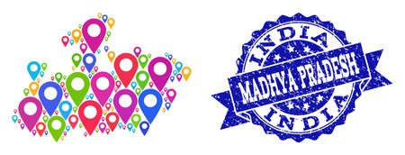 Compositions of colorful map of Madhya Pradesh State and grunge stamp seal. Mosaic vector map of Madhya Pradesh State is formed with colorful map pins. Abstract design elements for patriotic guides.