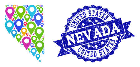 Compositions of bright map of Nevada State and grunge stamp seal. Mosaic vector map of Nevada State is composed with bright map pins. Flat design elements for patriotic illustrations.