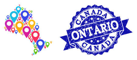 Compositions of bright map of Ontario Province and grunge stamp seal. Mosaic vector map of Ontario Province is formed with bright map markers. Abstract design elements for patriotic guides.
