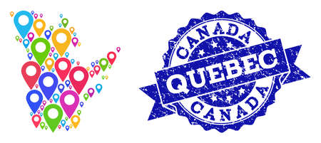 Compositions of bright map of Quebec Province and grunge stamp seal. Mosaic vector map of Quebec Province is composed with colorful map pointers. Flat design elements for politic applications.