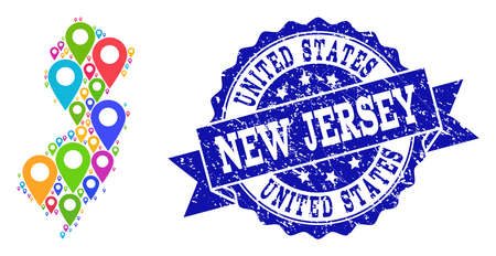 Compositions of bright map of New Jersey State and grunge stamp seal. Mosaic vector map of New Jersey State is created with bright map markers. Flat design elements for patriotic advertisement.