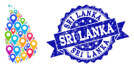 Compositions of bright map of Sri Lanka and grunge stamp seal. Mosaic vector map of Sri Lanka is composed with bright map pins. Abstract design elements for patriotic applications.
