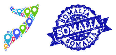 Compositions of colorful map of Somalia and grunge stamp seal. Mosaic vector map of Somalia is composed with colorful site markers. Flat collage for site wallpapers. Blue stamp contains rosette,