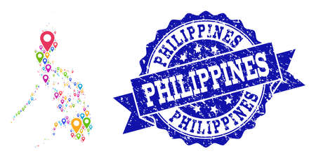 Compositions of colorful map of Philippines and grunge stamp seal. Mosaic vector map of Philippines is designed with colorful map markers. Flat design elements for touristic applications.