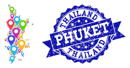 Compositions of bright map of Phuket and grunge stamp seal. Mosaic vector map of Phuket is created with bright map pins. Abstract design elements for politic purposes. Blue stamp contains rosette,