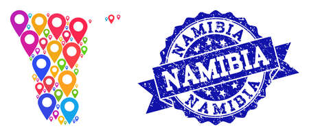Compositions of colorful map of Namibia and grunge stamp seal. Mosaic vector map of Namibia is composed with colorful site pointers. Flat collage for site wallpapers. Blue stamp contains rosette,