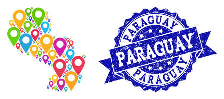 Compositions of colorful map of Paraguay and grunge stamp seal. Mosaic vector map of Paraguay is composed with colorful site pointers. Flat collage for site projects. Blue stamp contains rosette,