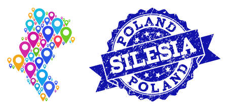 Compositions of bright map of Silesia Voivodeship and grunge stamp seal. Mosaic vector map of Silesia Voivodeship is formed with bright site pointers. Flat design elements for site guides. Ilustração