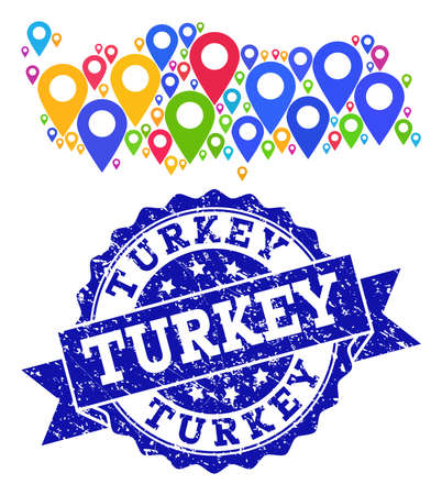 Compositions of bright map of Turkey and grunge stamp seal. Mosaic vector map of Turkey is formed with bright site pins. Abstract design elements for patriotic wallpapers. Blue stamp contains rosette,