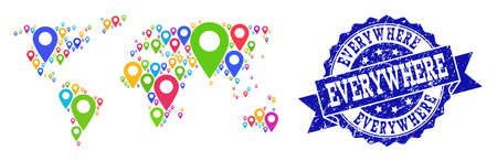 Compositions of colorful map of world and grunge stamp seal. Mosaic vector map of world is designed with colorful map pointers. Abstract design elements for site posters. Blue stamp contains rosette,