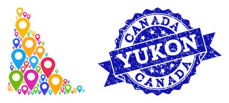Compositions of colorful map of Yukon Province and grunge stamp seal. Mosaic vector map of Yukon Province is designed with colorful map pins. Flat design elements for touristic posters.
