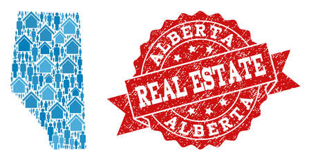 Real Estate combination of blue mosaic map of Alberta Province and corroded seal. Vector red seal with corroded rubber texture. Mosaic map of Alberta Province designed with homes and population.