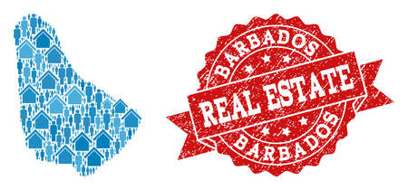 Real Estate combination of blue mosaic map of Barbados and unclean seal. Vector red seal with scratched rubber texture. Mosaic map of Barbados constructed with properties and persons.