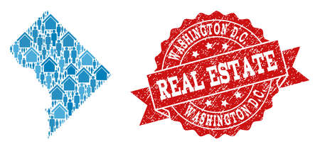 Real Estate collage of blue mosaic map of District Columbia and textured seal. Vector red seal with grunge rubber texture. Mosaic map of District Columbia designed with realty and people.