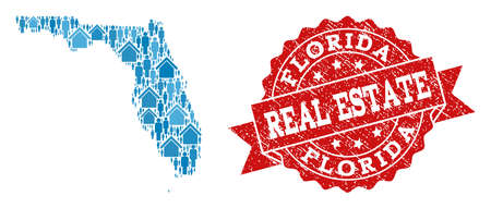 Real Estate collage of blue mosaic map of Florida State and rubber seal. Vector red seal with scratched rubber texture. Mosaic map of Florida State constructed with realty and men.
