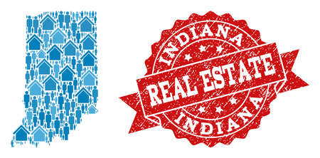Real Estate collage of blue mosaic map of Indiana State and dirty seal stamp. Vector red seal with grunge rubber texture. Mosaic map of Indiana State constructed with realty and men.