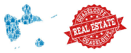 Real Estate combination of blue mosaic map of Guadeloupe and rubber seal. Vector red seal with distress rubber texture. Mosaic map of Guadeloupe designed with houses and persons. Illustration