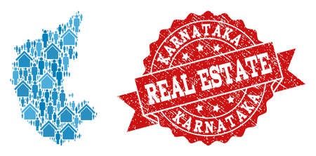 Real Estate composition of blue mosaic map of Karnataka State and rubber seal stamp. Vector red watermark with grunge rubber texture. Mosaic map of Karnataka State designed with properties and men.