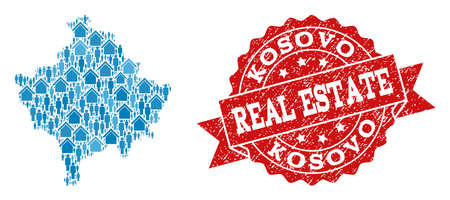 Real Estate collage of blue mosaic map of Kosovo and rubber seal. Vector red imprint with distress rubber texture. Mosaic map of Kosovo constructed with properties and persons.