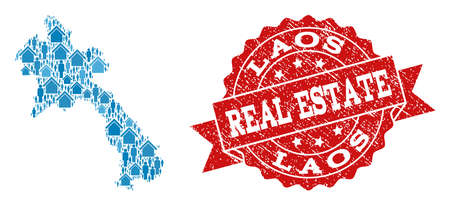 Real Estate composition of blue mosaic map of Laos and unclean seal stamp. Vector red seal with unclean rubber texture. Mosaic map of Laos constructed with houses and persons. Ilustração