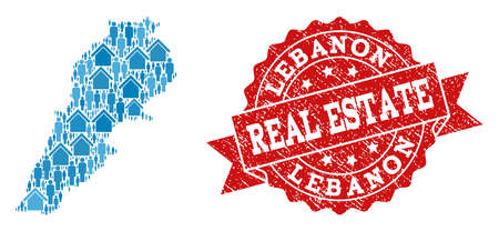 Real Estate collage of blue mosaic map of Lebanon and grunge seal. Vector red imprint with corroded rubber texture. Mosaic map of Lebanon designed with homes and persons.