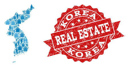 Real Estate composition of blue mosaic map of Korea and corroded seal. Vector red imprint with corroded rubber texture. Mosaic map of Korea designed with buildings and men.